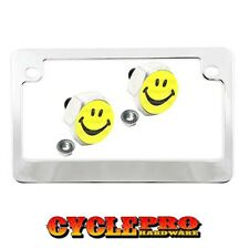 Chrome Metal Motorcycle License Plate Frame Hex Tag Bolt Kit - SMILEY FACE YB