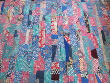 Beautiful bright cheerful tied Crazy Quilt cotton patchwork quilt