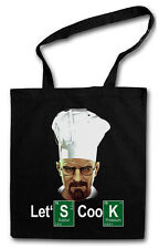 LET´S COOK CHEF COTTON BAG - Jutebeutel Stoffbeutel - Breaking Crystal Meth Bad