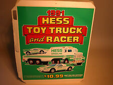 HESS 1991 TOY TRUCK AND RACER VERTICAL 3 SIDED COUNTER DISPLAY POSTERS