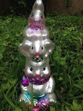 """Easter Bunny Stack Christopher rabbit Color Glass CUTE yard decor 12"""""""
