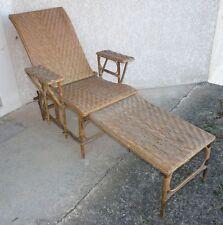Chaise longue des années 50-60, en rotin