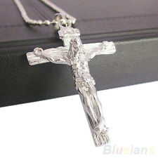 Men's Hot Chic Trendy Stainless Steel Silver Jesus Cross Chain Pendant Necklace