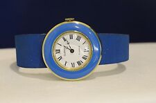 VINTAGE GLAMOUR SWISS 17 JEWELS HAND WINGING WOMEN'S BLUE AND GOLD TONE WATCH