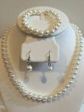 For Wedding Flower Girl's kid's white Pearl Necklace,Bracelet & Earrings set