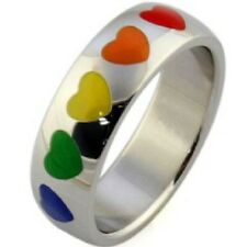Size 6 to 12 Men Women 6MM Stainless Steel Rainbow Gay Lesbian Ring Heart Gift
