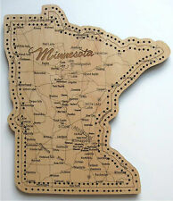 Minnesota State Shape Road Map Cribbage Boards - Qty. 2