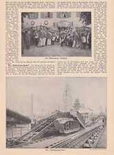 """Bock-Sprung-Bahn Bahnwagen  DRUCK von 1905 """"Leap-frog"""" Railway Coney Island"""