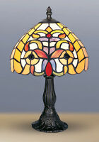 TIFFANY STYLE UNIQUE STAINED GLASS DESK TABLE LAMP -14.17'' WIDE-