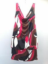 BISOU BISOU Anthropologie Multi Drape Sleeveless Bubble Dress Tunic Top L