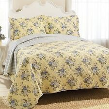 Shabby English Cottage French Country Chic BLUE ROSES YELLOW QUEEN QUILT SET 3PC