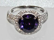 Sterling Silver (925) 4.00ct Amethyst Large Halo Cluster Cocktail Ring size N