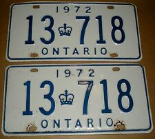 1972 ONTARIO CANADA CAR VEHICLE LICENCE PLATES MATCHED SET 13-718 GOOD CONDITION