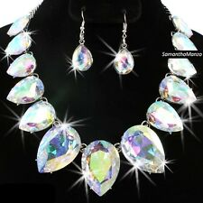 Aurora Borealis Rainbow Cz Crystal Tennis Statement Necklace Dangle Earrings