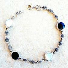 Black+White ONYX & MOTHER-of-PEARL Stones BRACELET Marcasite 925 Sterling Silver