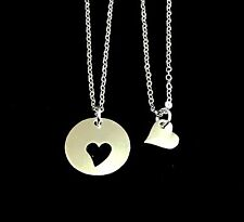 2 Silver Plated Mom and Daughter Heart Pendant Necklaces Mothers day gift USA