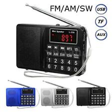 Mini Portable LCD Digital FM AM SW Radio Stereo Speaker USB TF AUX Mp3 Player