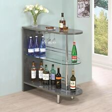Glossy Grey Bar Table with Wine Glass Holder and Glass Shelf by Coaster 101073