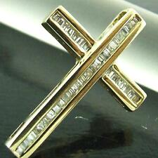 9K REAL CLASSIC GENUINE HALLMARKED SOLID YELLOW GOLD BRILLIANT DIAMOND CROSS
