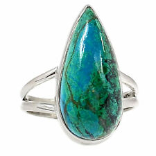 Chrysocolla - Peru 925 Sterling Silver Ring Jewellery Uk T Us 9.5