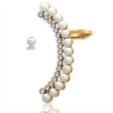 Spargz Gold Plated Half Moon Pearl Ear Cuff With Stud One Pearl Earring AIER 877