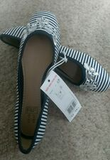 BNWT girls navy striped jewelled toe ballerinas/pumps shoes size 1+3 RRP £12