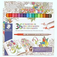 Staedtler Duo-Color Markers 36 Colors Double Ended 0.5 - 0.8 mm / 3.0 mm Basford