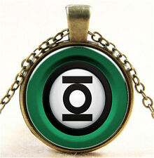 Vintage Green Lantern Cabochon Bronze Glass Chain Pendant Necklace  New 17