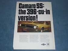 """1967 Camaro RS/SS 396 Vintage Ad """"Camaro SS: the 396-cu-in Version!"""" L35 SS396"""