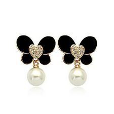 LOVELY 18K GOLD PLATED GENUINE SWAROVSKI CRYSTAL BLACK PEARL BUTTERFLY EARRINGS