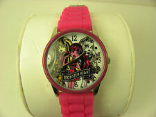 COLLECTIBLE 2012 MONSTER HIGH SILVER TONE & PINK WATCH W/HOT PINK SILICONE BAND
