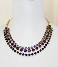NEW COACH CRYSTAL CHAIN NECKLACE PURPLE 95086
