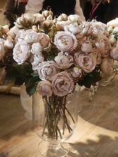 Realistic Quality Vintage Dusky Pink Shrub Rose Spray Silk Flowers Sold In Two's