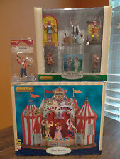 VIDEO! Lemax Carnival Animated Side Show Fire Sword Eater Strong Man Village Lot