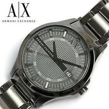 NEW ARMANI EXCHANGE AX2135 HAMPTON GUNMETAL TEXTURED DIAL ION-PLATED MEN'S WATCH