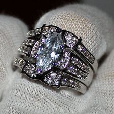 Size 8 Lady's 925 Silver Marquise-cut White Sapphire 3 Wedding Ring Set Gift