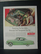 1954 Mercury Car Ad Moon Sun Roof Sun Valley Transparent Vintage Print Ad 10772