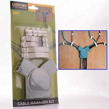 CABLE TIDY ORGANISING KIT Wire/Lead Plug Clips Desk Manager PC TV Home Office