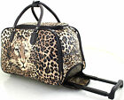 TIGER PRINT LUGGAGE WHEELED TRAVEL HOLDALL CABIN TROLLEY CASE BAG BROWN