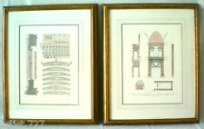 2 Architectural Drawing Lithographs,Schinkel/German & St. Maggiore, Milan Italy