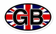 "GB Great Britain Flag Oval car window bumper sticker decal 5"" x 3"""