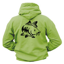 FISHING HOODIE 340GSM WITH CARP DESIGN PRINTED ON THE FRONT AND BACK TACKLE ROD