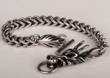 Men women stainless steel dragon chain bracelet biker jewelry 135 silver 8.5""