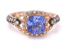 LeVian Ring Tanzanite Chocolate Diamonds 1.80 cttw 14K Rose Gold NEW Size 7