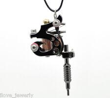 """ILJ Boy Girls Gunmetal Mini Tattoo Machine Necklace 45cm(17-3/4"""") W00112"""