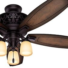 """54"""" Hunter Traditional Ceiling Fan in Brittany Bronze with Light Kit, Ships Free"""