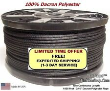 "1000' 3/16"" Dacron Polyester Rope, Doomsday Prepper Dipole Antenna, Ginpole, Guy"
