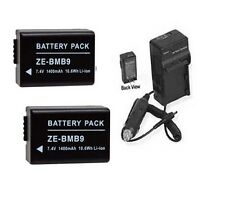 TWO 2X Batteries + Charger for Panasonic DMC-FZ62 DMC-FZ62K DMC-FZ72 DMC-FZ72K