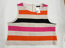 BNWT LADIES H&M SHORT STRIPED TOP WITH EXPOSED REAR ZIP SIZE 16 - 18 (LARGE)