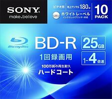 10pack Sony HD Blu-Ray 25GB BD-R 4x BDR Blank Disc Media Printable Japan
